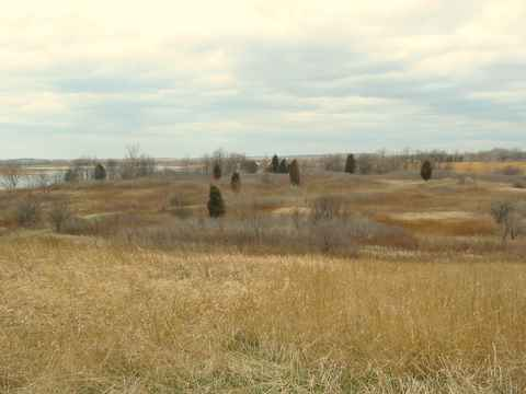 The landscape surrounding Wolf Lake offers a mix of prairie and savanna.