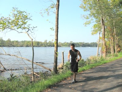 A runner in Norris Woods