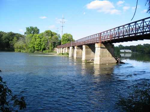 This pedestrian bridge over the Fox River is the route for the Fox River Trail.