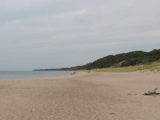 The beach at Warren Dunes State Park is comparable in beauty to the beaches further north on the Michigan coastline.