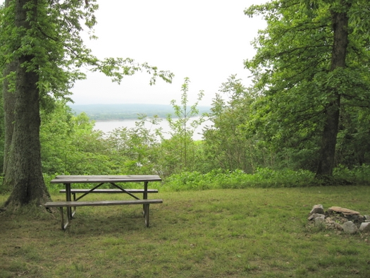The campsites at Rauchfuss Hill State Recreation Area in southern Illinois sit on high bluff above the Ohio River. 