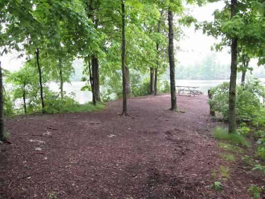 the walk-in campsites at Kinkaid Lake in southern Illinois occupy a finger of land reaching into the lake.