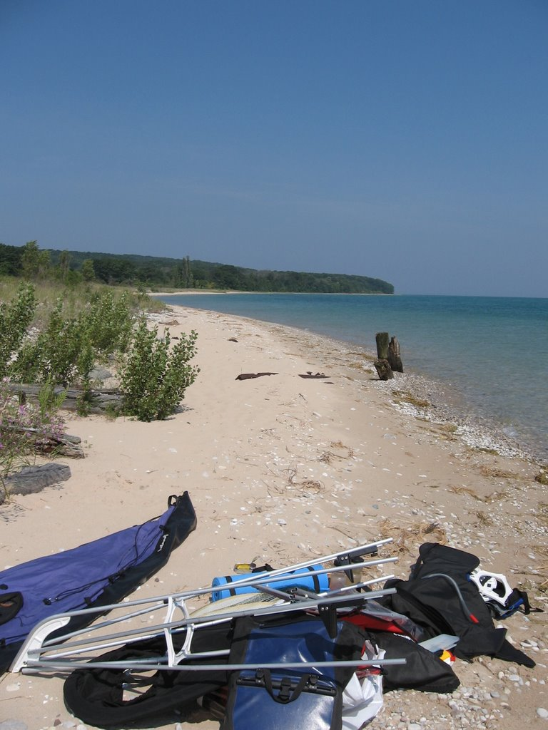 My kayak awaits assembly on North Manitou Island.