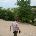 Mark descends the dune.