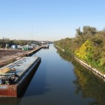 The Chicago Sanitary and Ship Canal is a working canal with plenty of barge traffic.