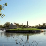 The small lighthouse-like structure marks the confluence of the Chicago Sanitary and Ship Canal and the Calumet Sag Canal.