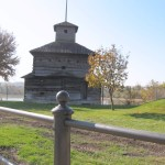 A replica of Fort Armstrong, built as the first European settlement on Rock Island in the early 1700s.