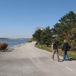 Walkers enjoy the many miles of riverside pathway in the Quad Cities area.